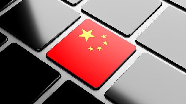 3d render van de nationale vlag van china op zwart toetsenbord voor productweergave