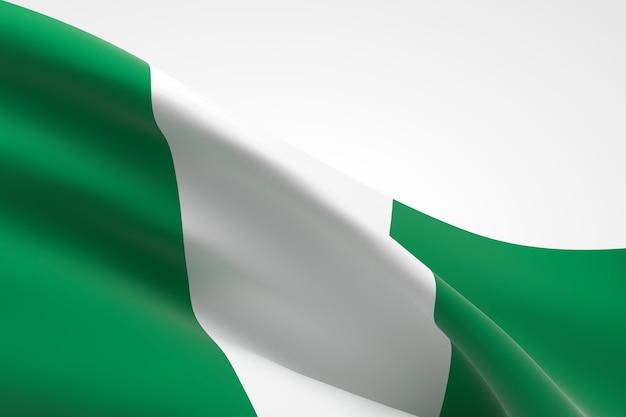 3d render van de nigeriaanse vlag zwaaien.
