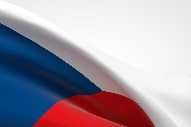 3d render van de tsjechische vlag zwaaien.