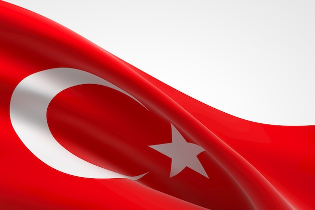3d render van de turkse vlag zwaaien.