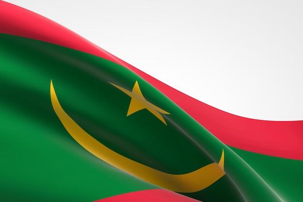 3d render van de vlag van mauritanië zwaaien.