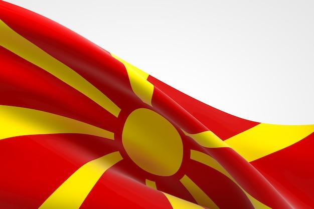 3d render van de vlag van noord-macedonië zwaaien.