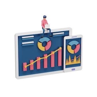 3d render van digitaal marketingstrategieconcept met klein mensenkarakter, tafel, grafisch object op computerscherm. online social media marketing modern voor bestemmingspagina en mobiele websitesjabloon