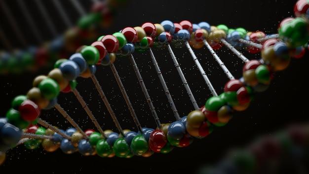 3d render van dna-vorm. wetenschapsachtergrond met helix van reflecterende bollen. genetisch begrip.