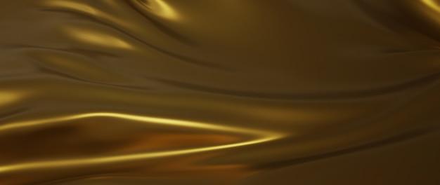 3d render van donkere en gouden doek. iriserende holografische folie. abstracte kunst mode achtergrond.