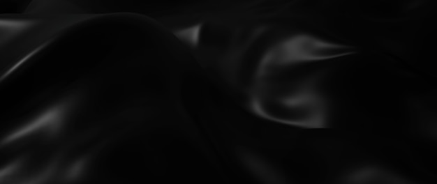 3d render van donkere en zwarte doek. iriserende holografische folie. abstracte kunst mode achtergrond.