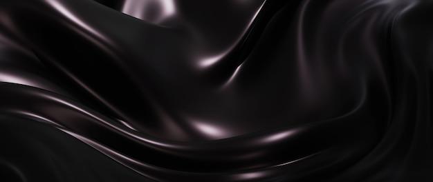 3d render van donkere en zwarte zijde. iriserende holografische folie. abstracte kunst mode achtergrond.