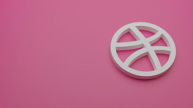 3d render van dribble-logo met kopie ruimte