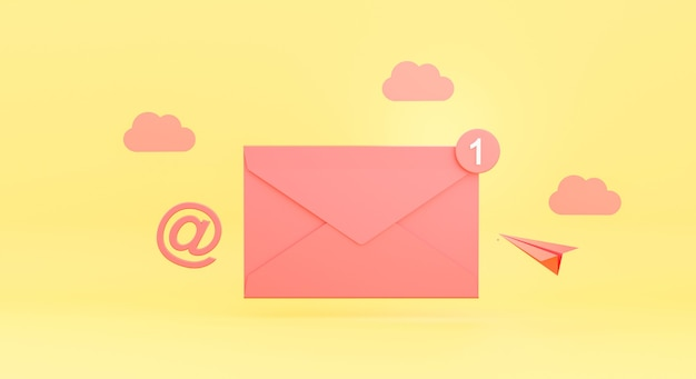 3d render van e-mail envelop concept