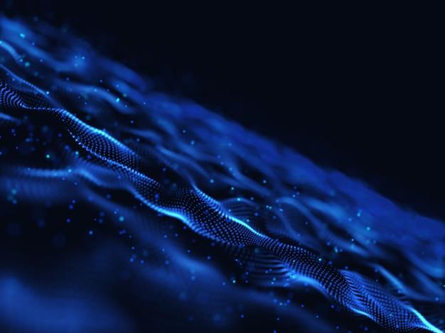 3d render van een abstract digitaal met moderne vloeiende deeltjes