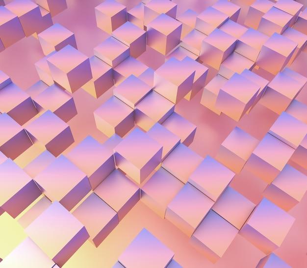3d render van een abstract met zwevende blokjes