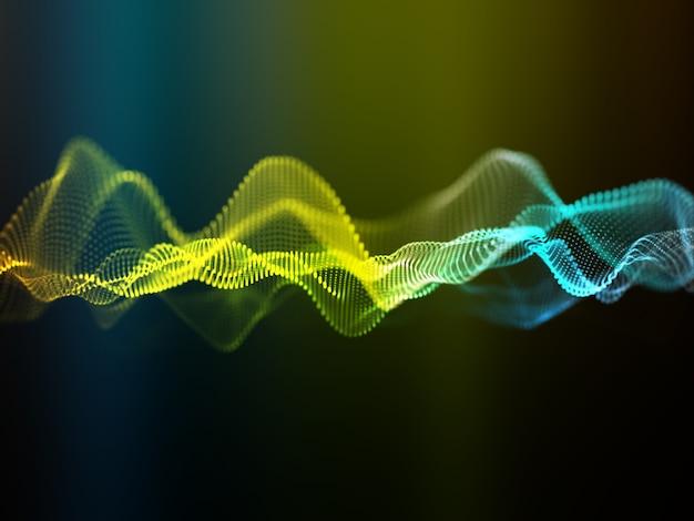 3d render van een abstracte achtergrond met stromende cyber deeltjes