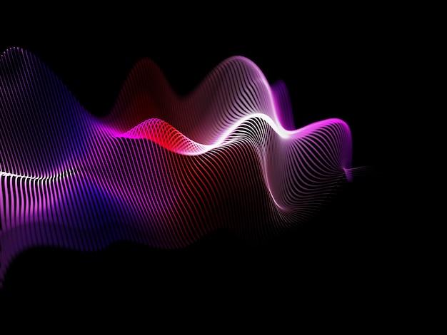 3d render van een abstracte achtergrond met vloeiende geluidsgolven ontwerp