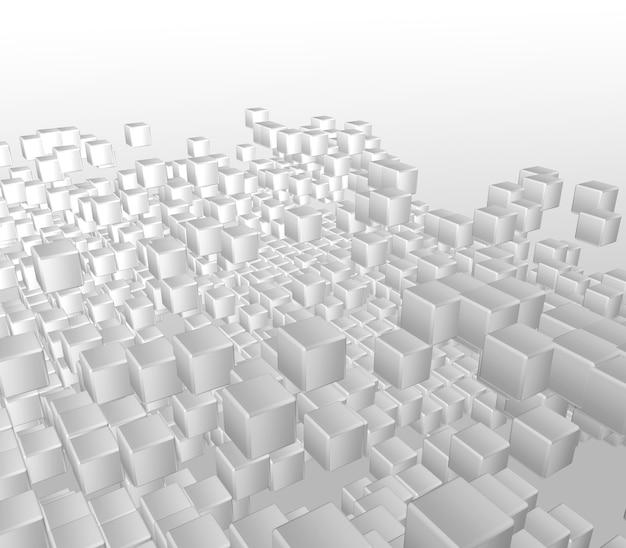 3d render van een abstracte achtergrond van witte blokjes