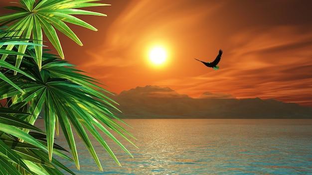 3d render van een adelaar die over de oceaan in een tropisch landschap vliegt