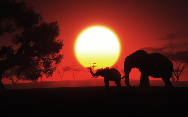 3d render van een afrikaans landschap met olifanten bij zonsondergang