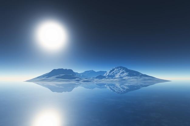 3d render van een bergketen weerspiegeld in de oceaan
