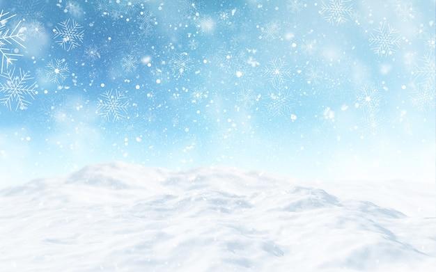 3d render van een besneeuwd kerstlandschap