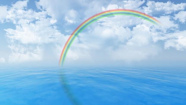 3d render van een blauwe oceaan en pluizige witte wolken in de lucht en een regenboog