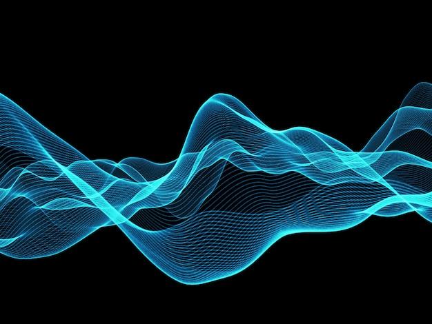 3d render van een blauwe vloeiende abstracte lijnen achtergrond
