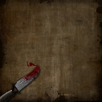 3d render van een bloedige dolk op een grunge achtergrond
