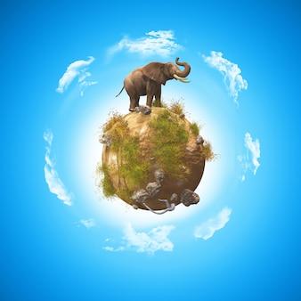 3d render van een conceptueel beeld met een olifant op een wereldbol met rotsen en gras