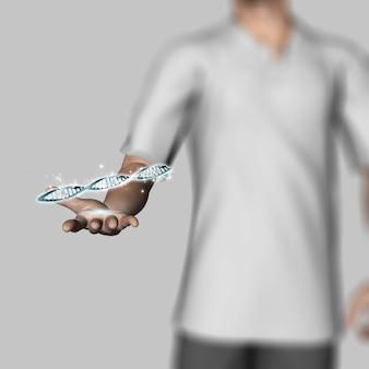 3d render van een defocussed mannelijke figuur die dna-strengen