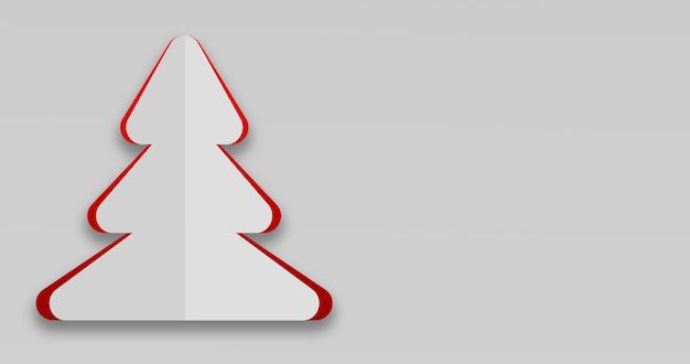3d render van een eenvoudige kerstkaart in de vorm van een kerstboom
