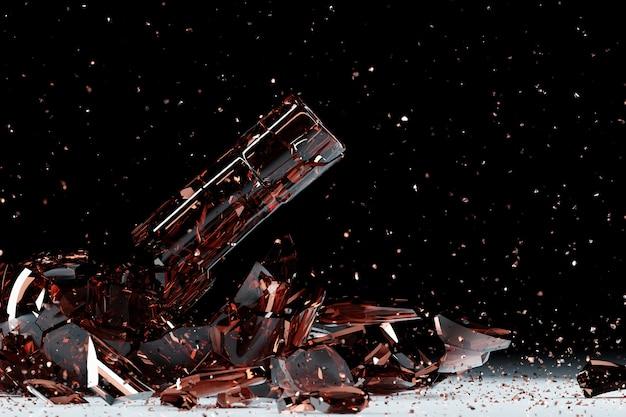 3d render van een gebroken bruin bier een fles met veel fragmenten die in verschillende richtingen vliegen op een zwarte achtergrond.