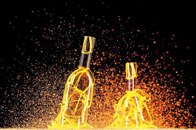 3d render van een gebroken gele verlichtingswijn een fles met veel fragmenten die in verschillende richtingen vliegen op een zwarte achtergrond.