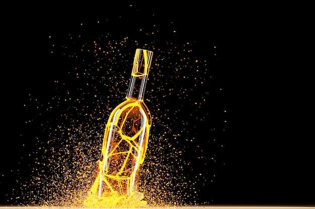 3d render van een gebroken gele verlichtingswijn een fles met veel vliegende fragmenten