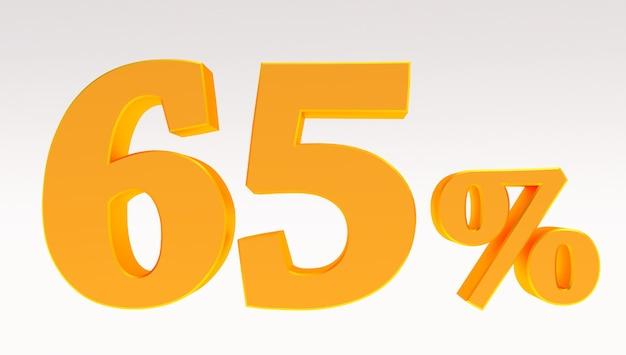 3d render van een goud 65 procent geïsoleerd op een witte achtergrond, gouden vijfenzestig procent
