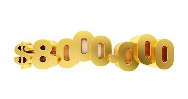 3d render van een gouden acht miljoen (80.000.000) dollar. 8 miljoen dollar, 8 miljoen $