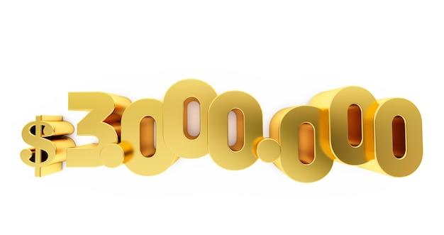 3d render van een gouden drie miljoen (3000000) dollar. 3 miljoen dollar, 3 miljoen dollar