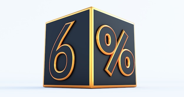3d render van een gouden sex 6 procent op zwarte doos, 3d kortingsdozen,