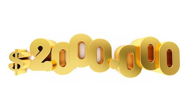 3d render van een gouden twee miljoen (2000000) dollar. 2 miljoen dollar, 2 miljoen dollar