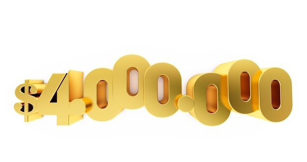 3d render van een gouden vier miljoen (4000000) dollar. 4 miljoen dollar, 4 miljoen dollar