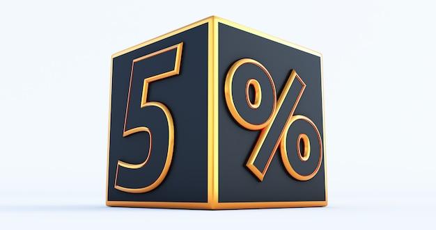 3d render van een gouden vijf 5 procent op zwarte doos, 3d-kortingsdozen,