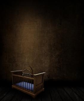 3d render van een grunge kamer interieur met gebrandschilderde muur en vloer en oude griezelige kinderbed