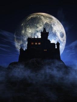 3d render van een halloween achtergrond met een spookachtig kasteel