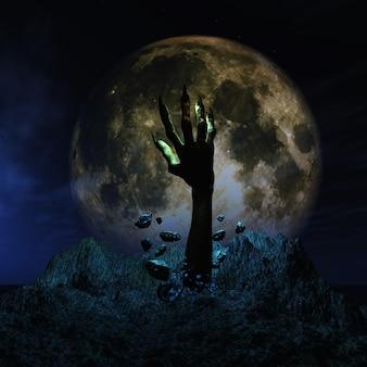3d render van een halloween achtergrond met zombie de hand losbarsten uit de grond