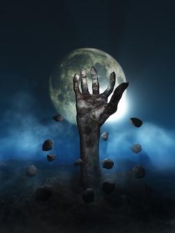 3d render van een halloween-concept met zombiehand die uit de grond barst