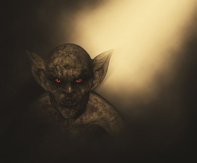 3d render van een halloween demon