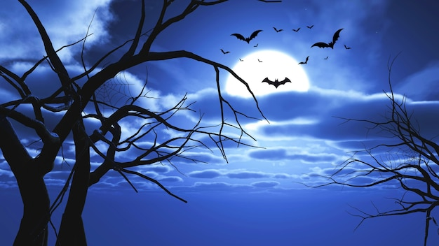 3d render van een halloween-landschap met vleermuizen en boomsilhouetten