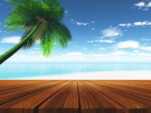 3d render van een houten dek met tropisch strand op achtergrond