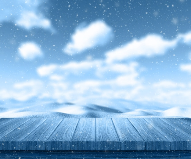 3d render van een houten tafel kijkt uit naar een sneeuwlandschap