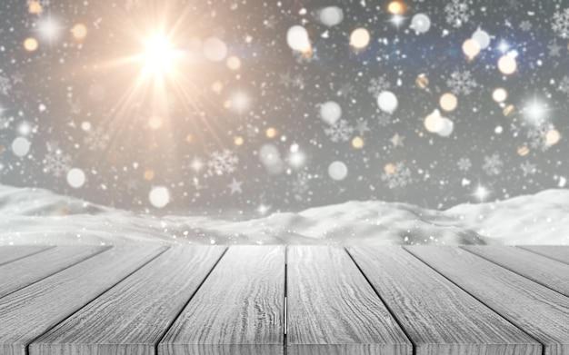 3d render van een houten tafel kijkt uit op een besneeuwde scène