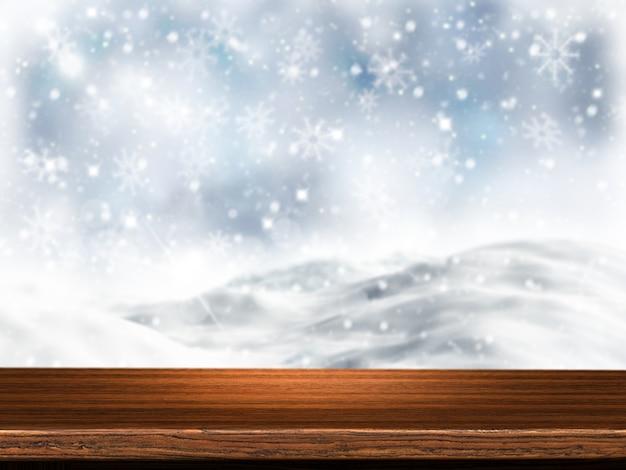 3d render van een houten tafel met besneeuwde achtergrond