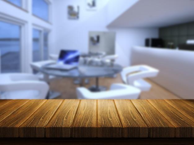 3d render van een houten tafel met een defocussed cafe bar in de achtergrond