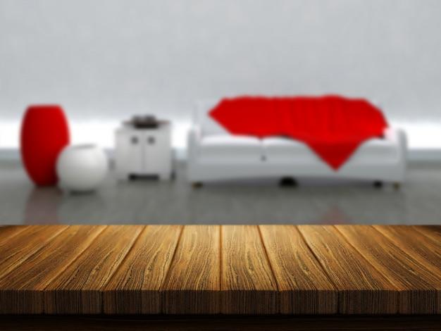 3d render van een houten tafel met een kamer interieur op de achtergrond